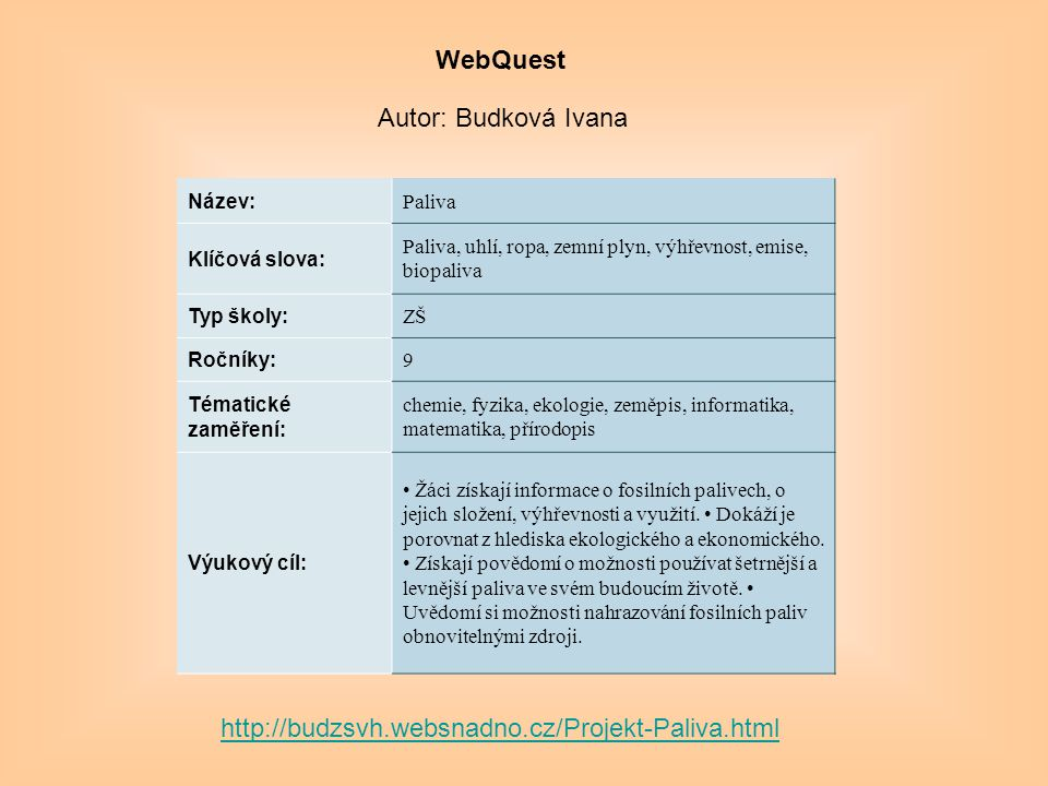WebQuest Autor: Budková Ivana