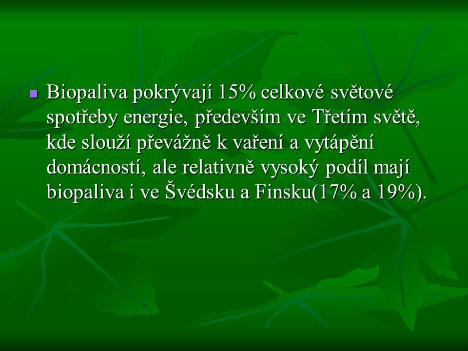 Biopaliva pokrývají 15% celkové světové spotřeby energie, především ve Třetím světě, kde slouží převážně k vaření a vytápění domácností, ale relativně vysoký podíl mají biopaliva i ve Švédsku a Finsku(17% a 19%).