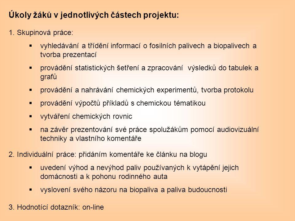 Úkoly žáků v jednotlivých částech projektu: