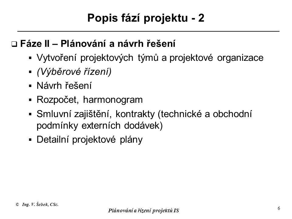 Popis fází projektu - 2 Fáze II – Plánování a návrh řešení