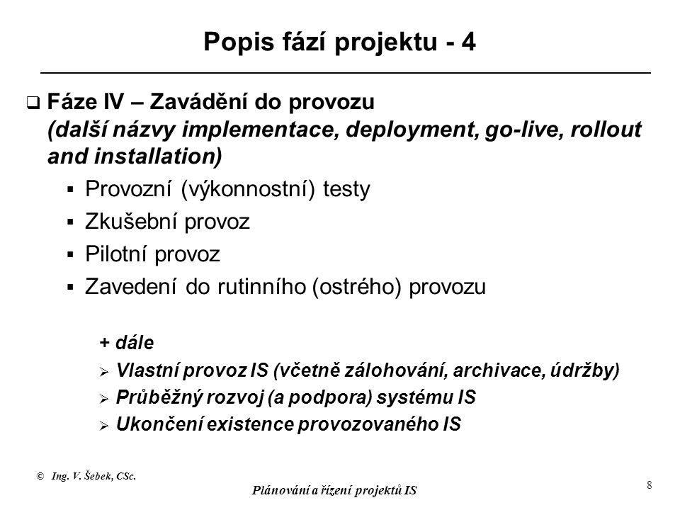 Popis fází projektu - 4 Fáze IV – Zavádění do provozu (další názvy implementace, deployment, go-live, rollout and installation)