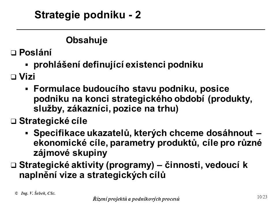 Strategie podniku - 2 Obsahuje Poslání