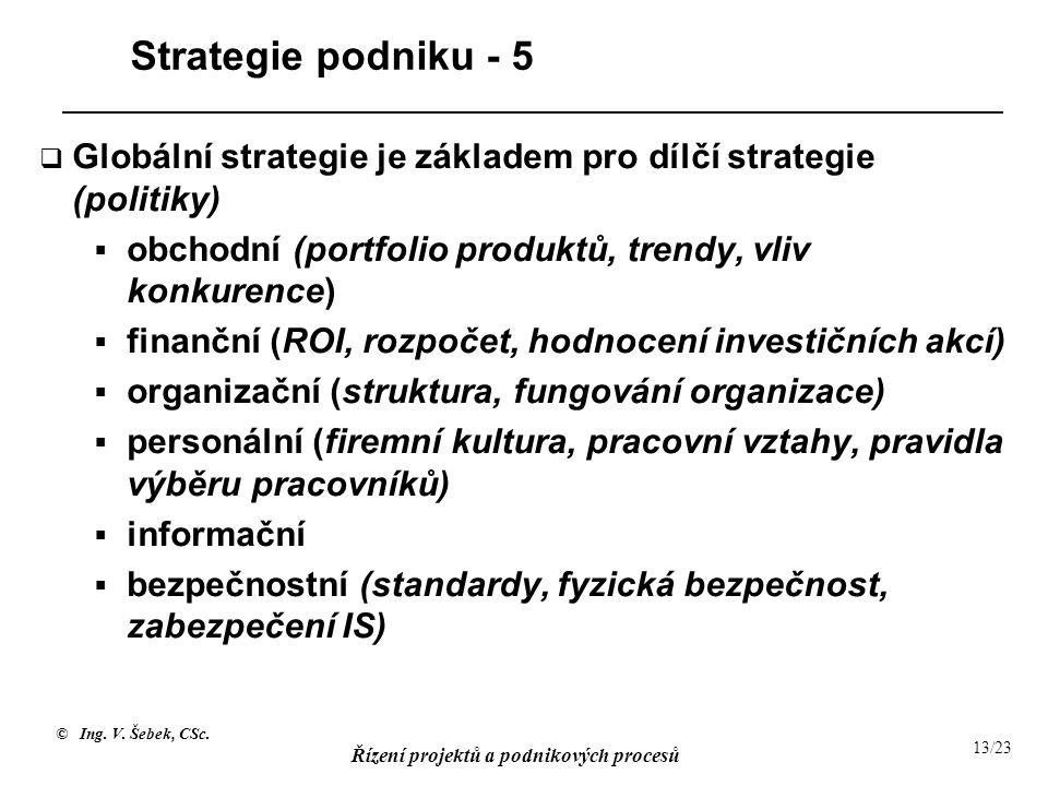 Strategie podniku - 5 Globální strategie je základem pro dílčí strategie (politiky) obchodní (portfolio produktů, trendy, vliv konkurence)