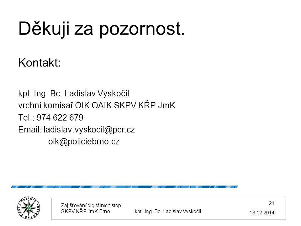 Děkuji za pozornost. Kontakt: kpt. Ing. Bc. Ladislav Vyskočil