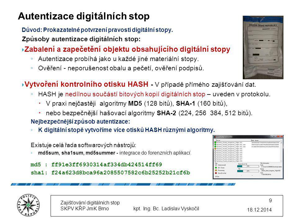 Autentizace digitálních stop