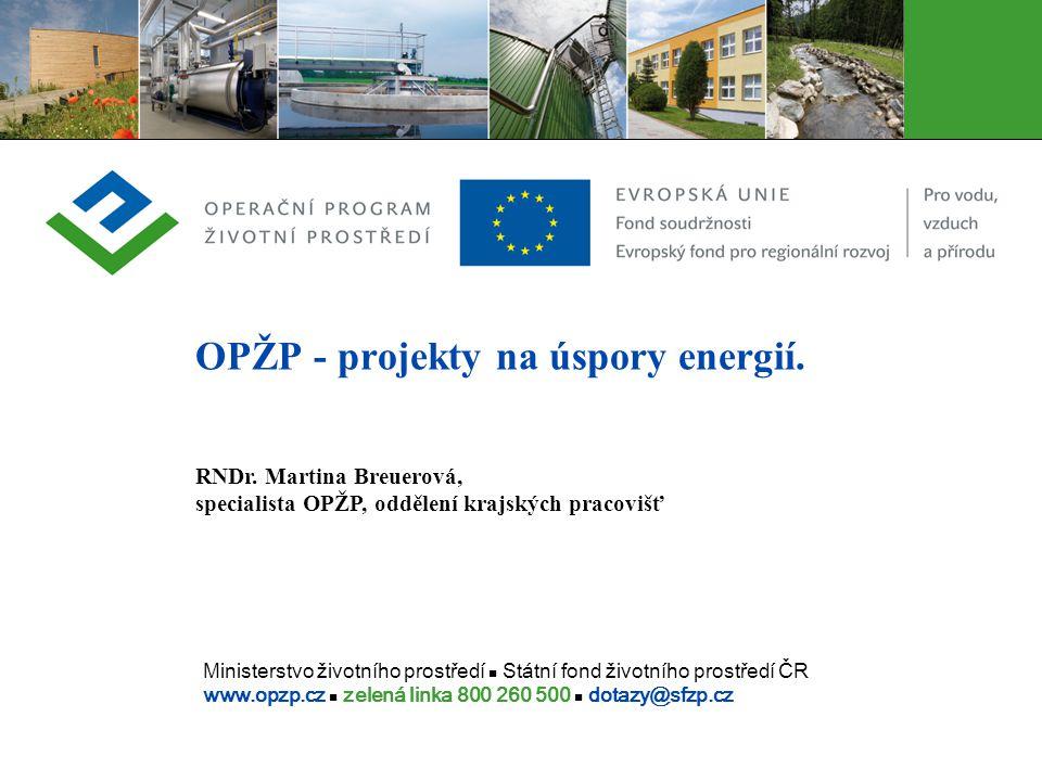 OPŽP - projekty na úspory energií.