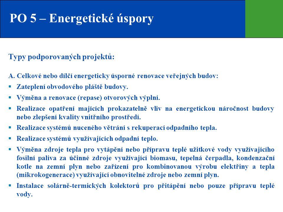 PO 5 – Energetické úspory