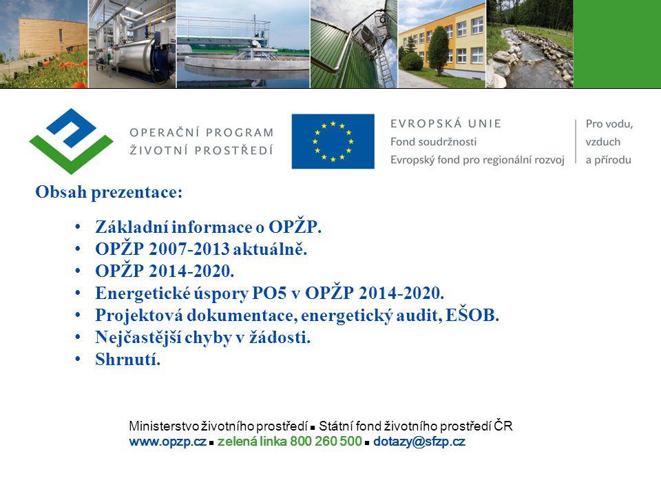 Obsah prezentace: Základní informace o OPŽP. OPŽP 2007-2013 aktuálně. OPŽP 2014-2020. Energetické úspory PO5 v OPŽP 2014-2020.