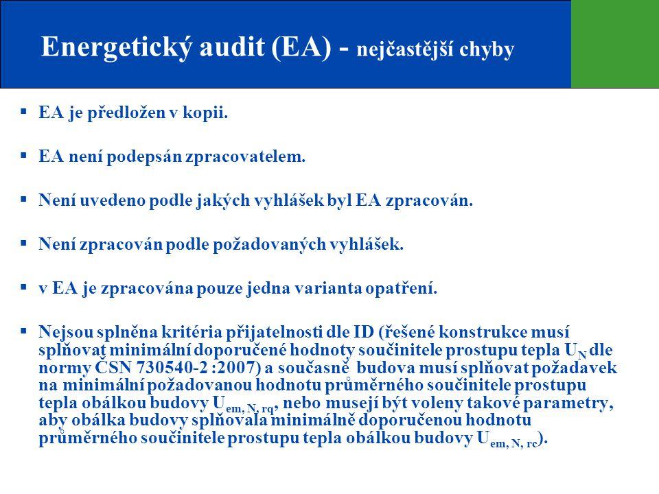 Energetický audit (EA) - nejčastější chyby