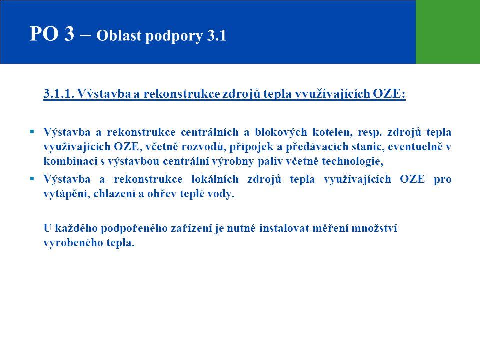 PO 3 – Oblast podpory 3.1 3.1.1. Výstavba a rekonstrukce zdrojů tepla využívajících OZE: