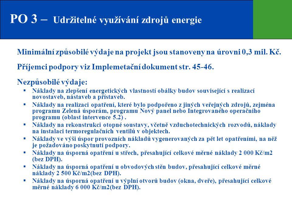 PO 3 – Udržitelné využívání zdrojů energie
