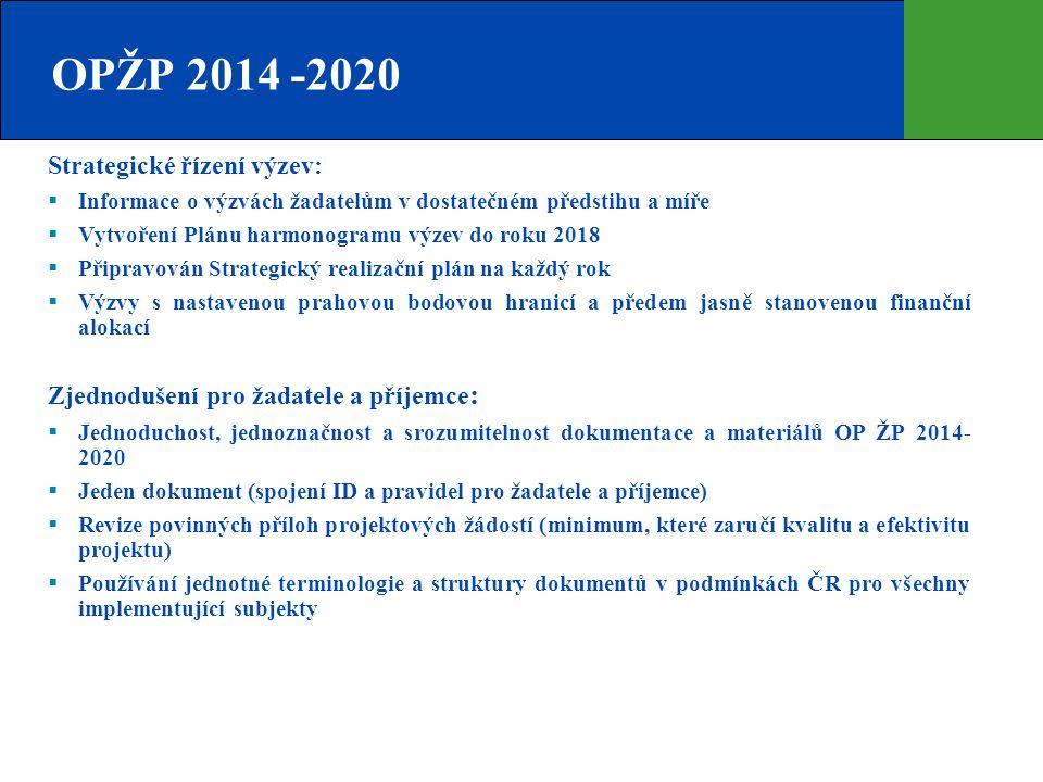 OPŽP 2014 -2020 Strategické řízení výzev: