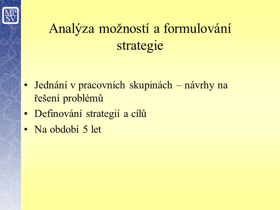 Analýza možností a formulování strategie