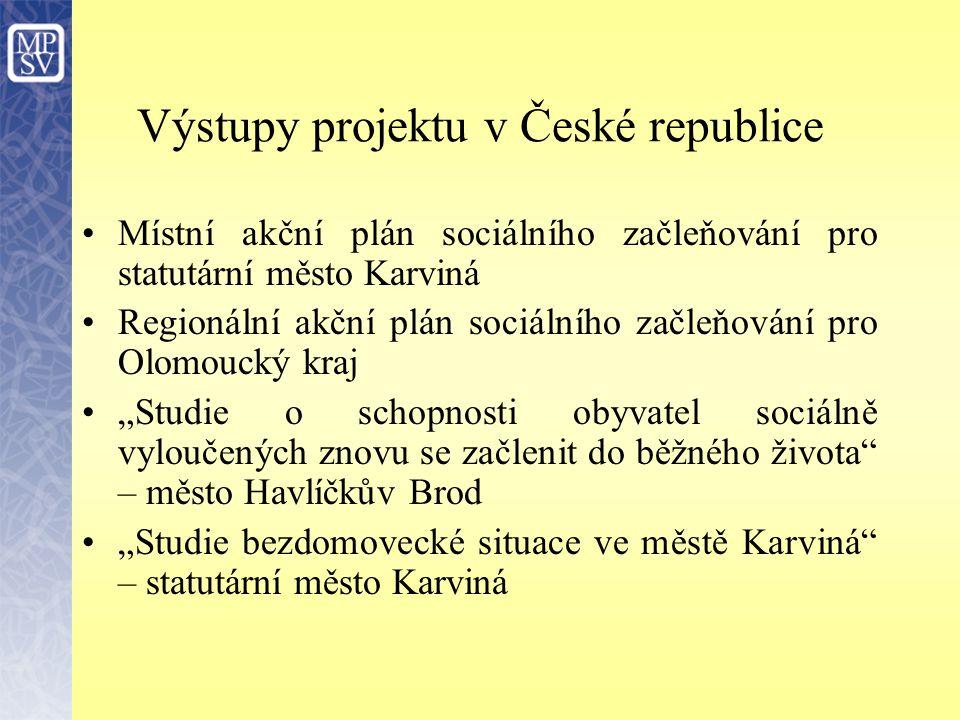 Výstupy projektu v České republice
