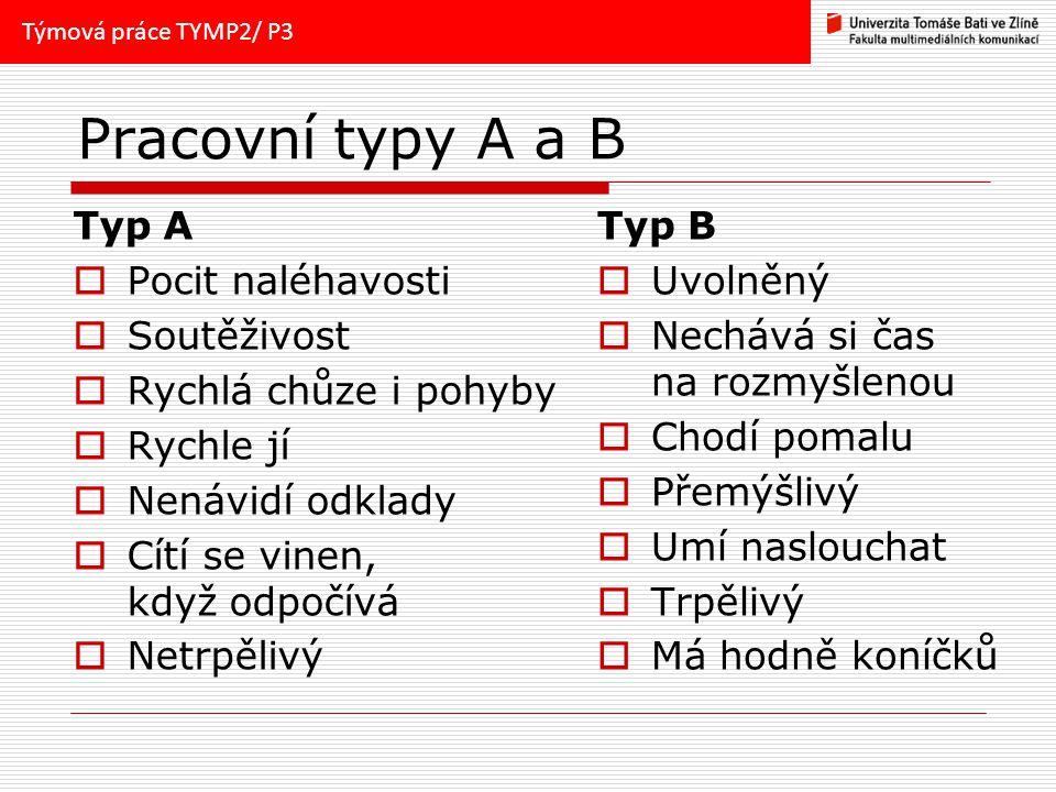 Pracovní typy A a B Typ A Pocit naléhavosti Soutěživost
