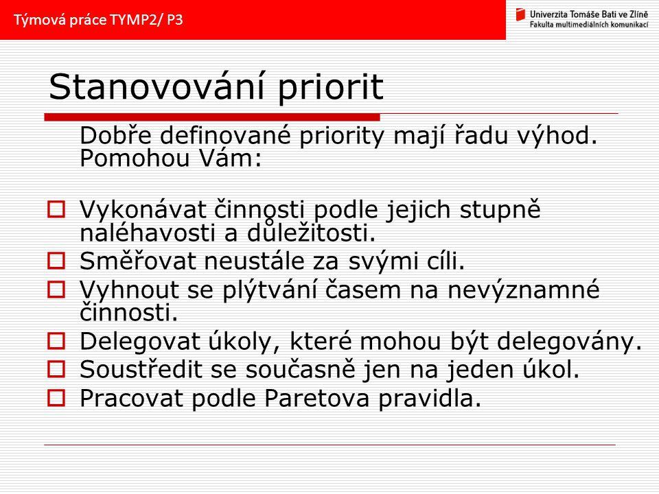 Týmová práce TYMP2/ P3 Stanovování priorit. Dobře definované priority mají řadu výhod. Pomohou Vám: