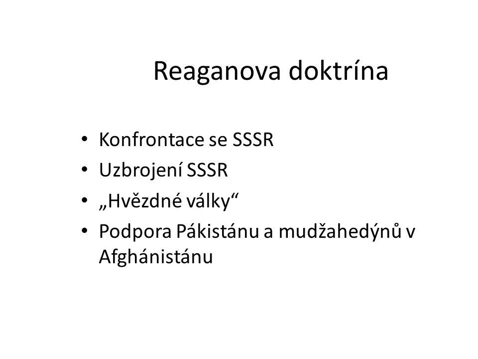 """Reaganova doktrína Konfrontace se SSSR Uzbrojení SSSR """"Hvězdné války"""