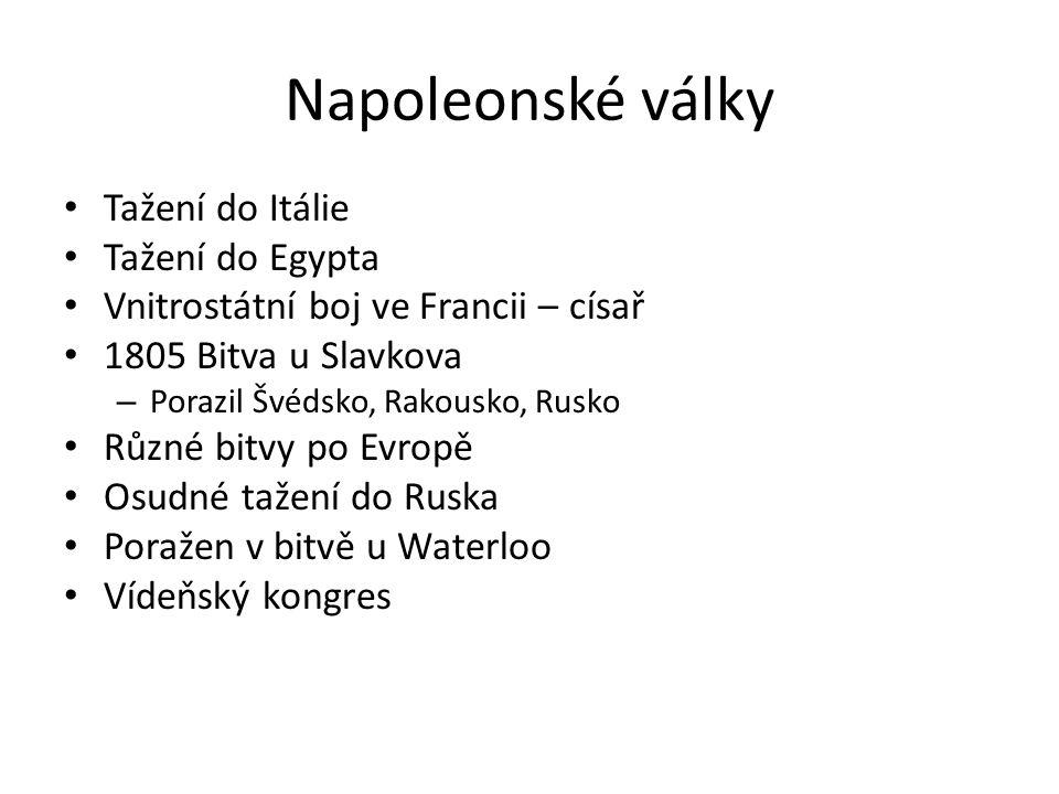Napoleonské války Tažení do Itálie Tažení do Egypta