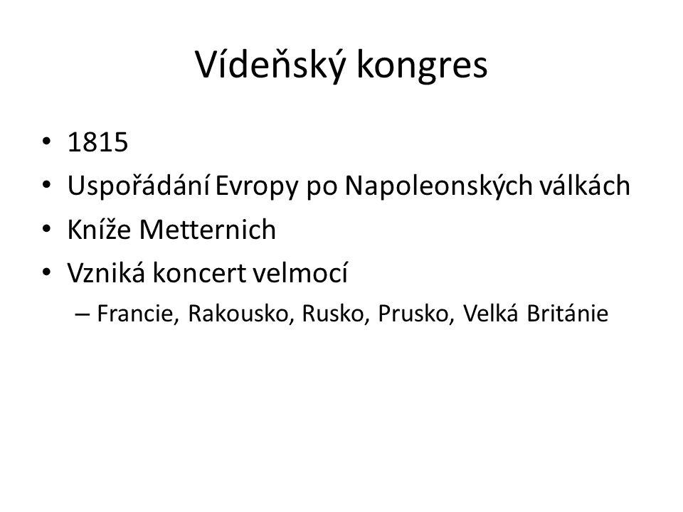Vídeňský kongres 1815 Uspořádání Evropy po Napoleonských válkách