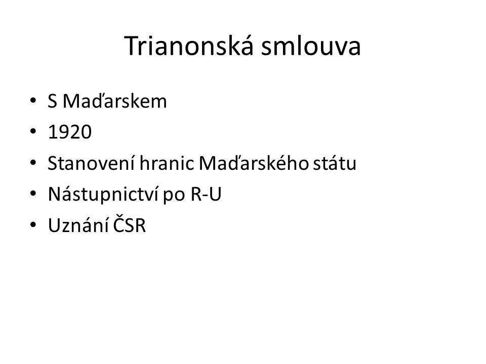 Trianonská smlouva S Maďarskem 1920 Stanovení hranic Maďarského státu