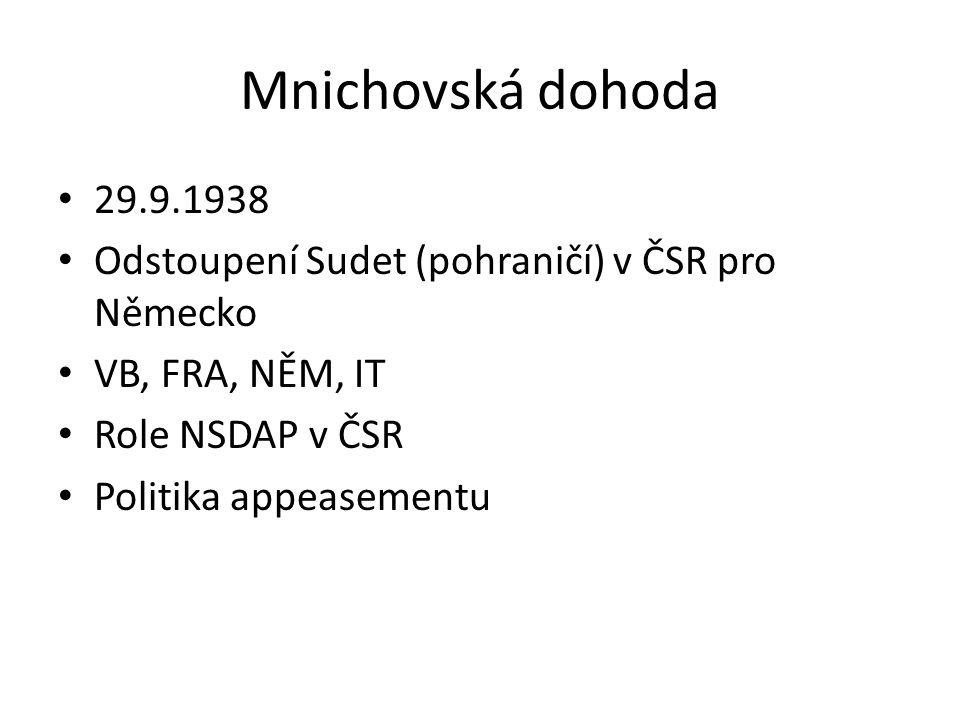 Mnichovská dohoda 29.9.1938. Odstoupení Sudet (pohraničí) v ČSR pro Německo. VB, FRA, NĚM, IT. Role NSDAP v ČSR.