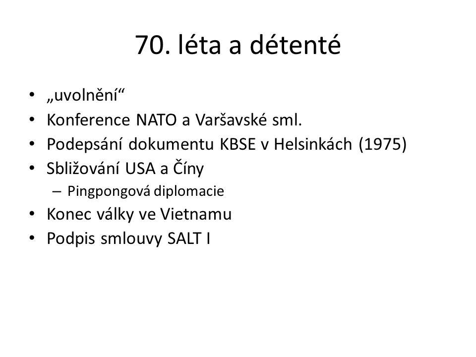 """70. léta a détenté """"uvolnění Konference NATO a Varšavské sml."""