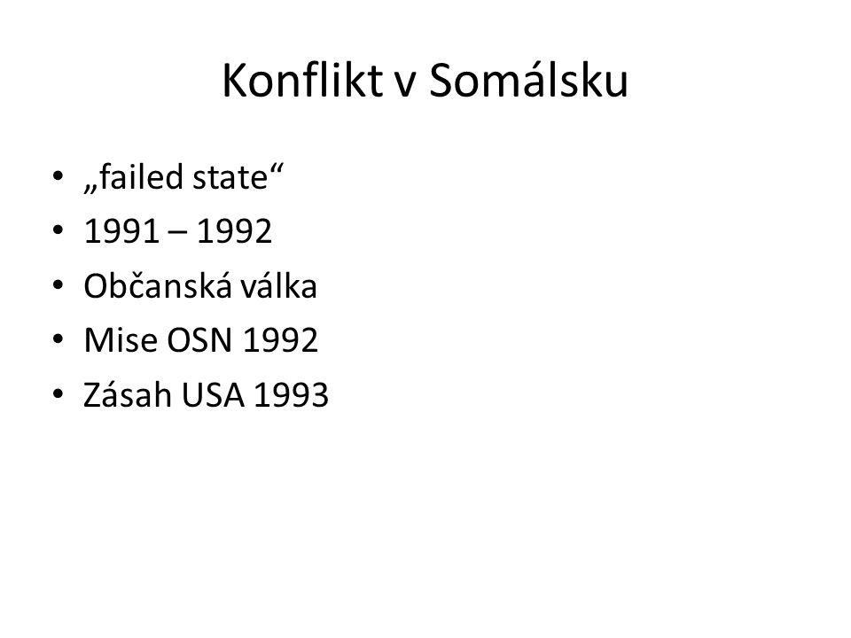 """Konflikt v Somálsku """"failed state 1991 – 1992 Občanská válka"""
