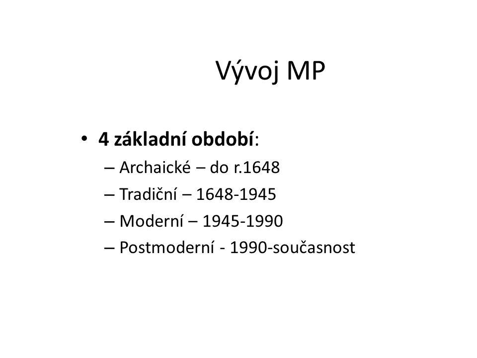 Vývoj MP 4 základní období: Archaické – do r.1648 Tradiční – 1648-1945