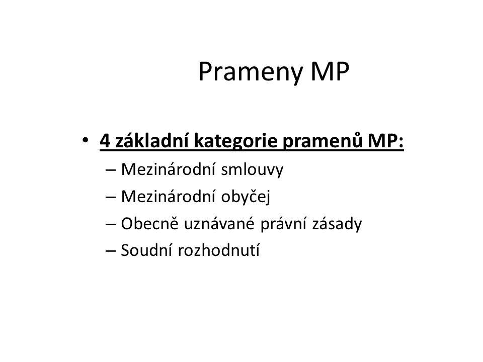 Prameny MP 4 základní kategorie pramenů MP: Mezinárodní smlouvy