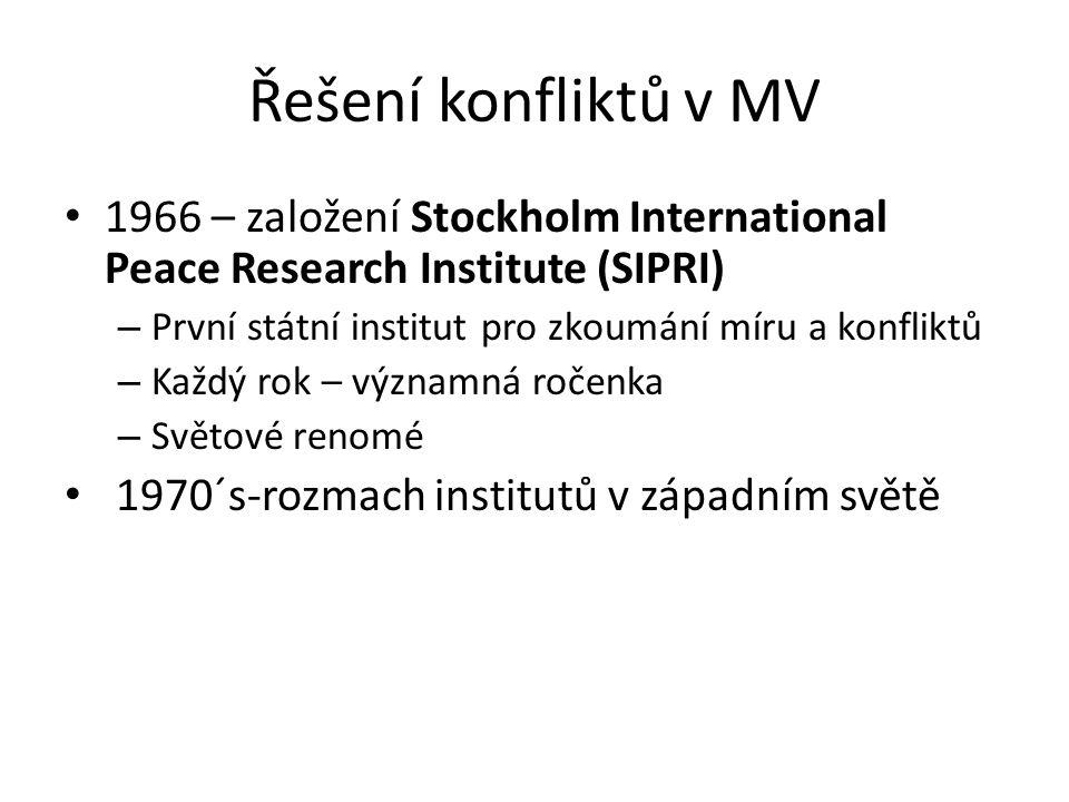 Řešení konfliktů v MV 1966 – založení Stockholm International Peace Research Institute (SIPRI) První státní institut pro zkoumání míru a konfliktů.