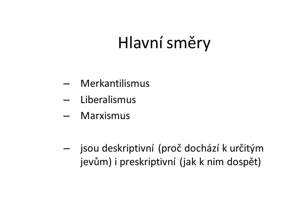 Hlavní směry Merkantilismus Liberalismus Marxismus