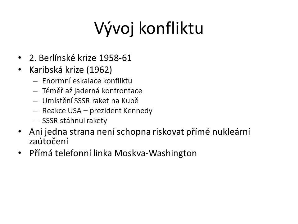 Vývoj konfliktu 2. Berlínské krize 1958-61 Karibská krize (1962)