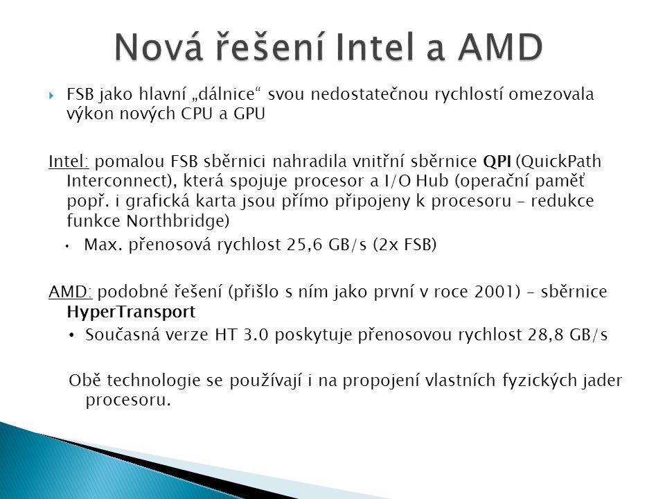 """Nová řešení Intel a AMD FSB jako hlavní """"dálnice svou nedostatečnou rychlostí omezovala výkon nových CPU a GPU."""