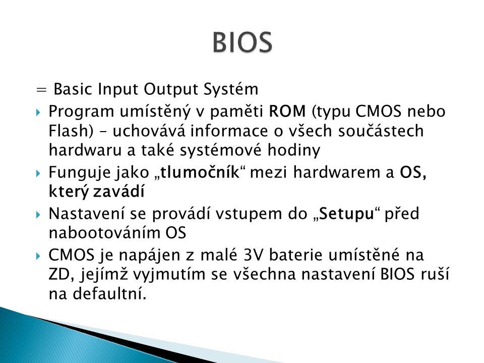BIOS = Basic Input Output Systém