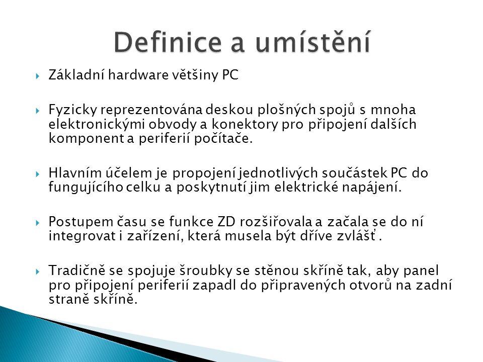 Definice a umístění Základní hardware většiny PC