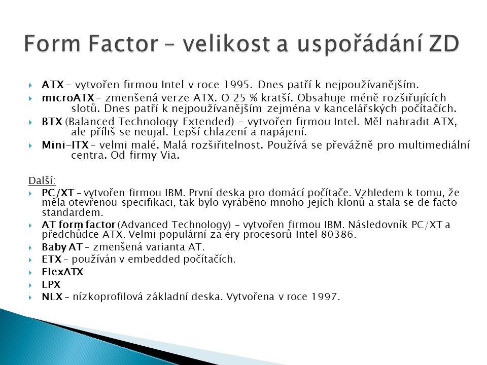 Form Factor – velikost a uspořádání ZD