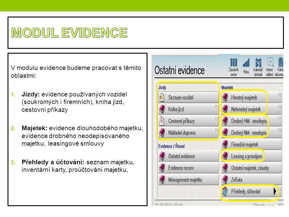 MODUL EVIDENCE V modulu evidence budeme pracovat s těmito oblastmi: