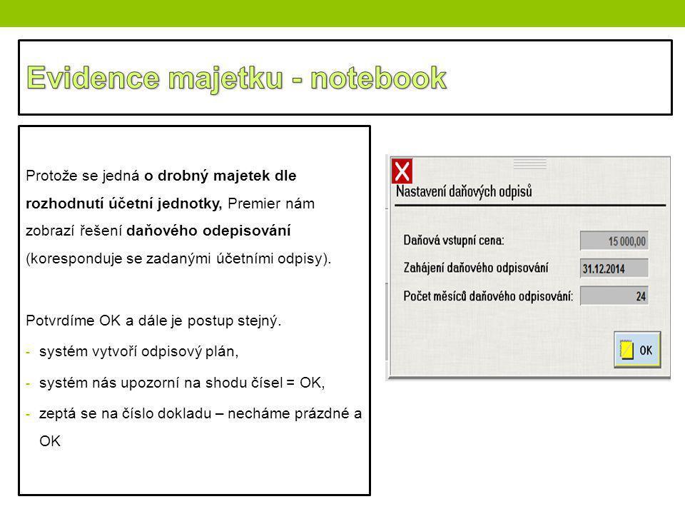 Evidence majetku - notebook