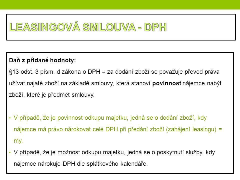 LEASINGOVÁ SMLOUVA - DPH