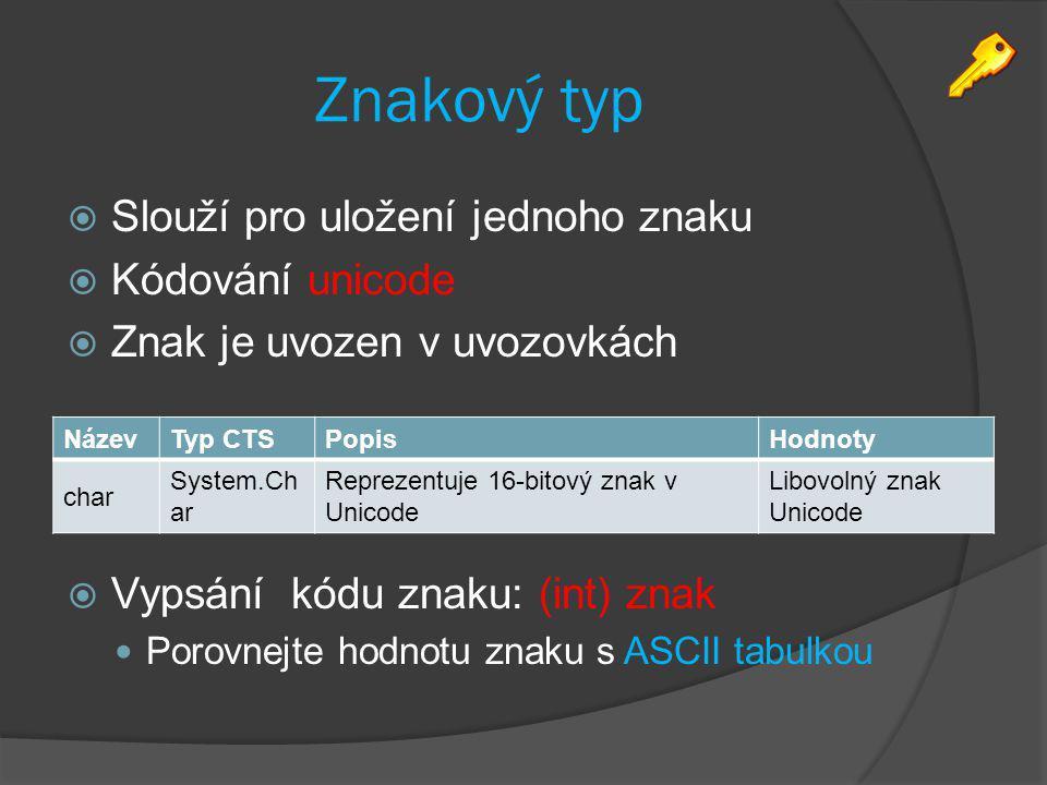 Znakový typ Slouží pro uložení jednoho znaku Kódování unicode
