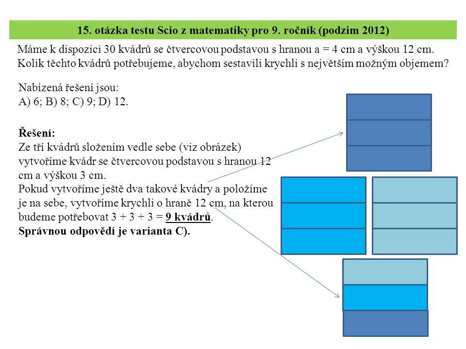 15. otázka testu Scio z matematiky pro 9. ročník (podzim 2012)