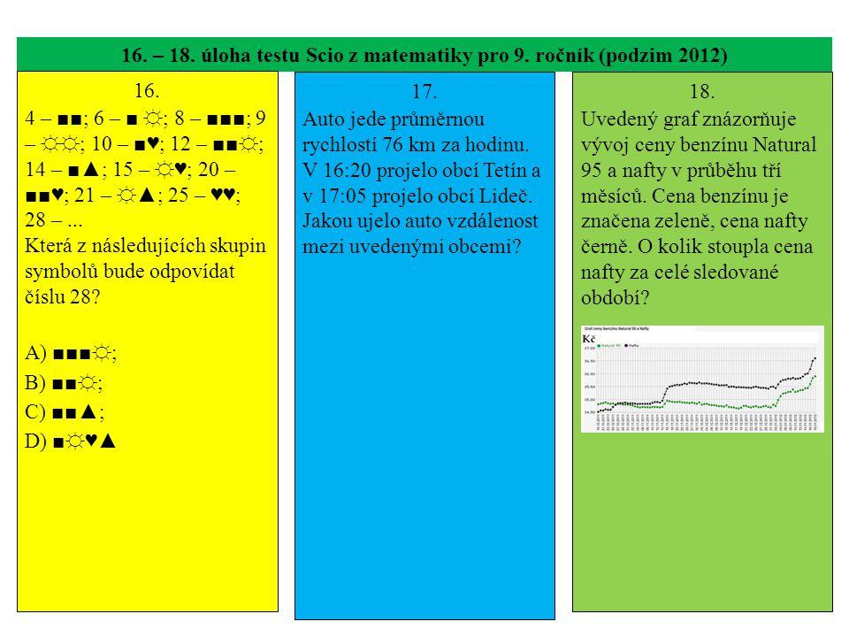 16. – 18. úloha testu Scio z matematiky pro 9. ročník (podzim 2012)