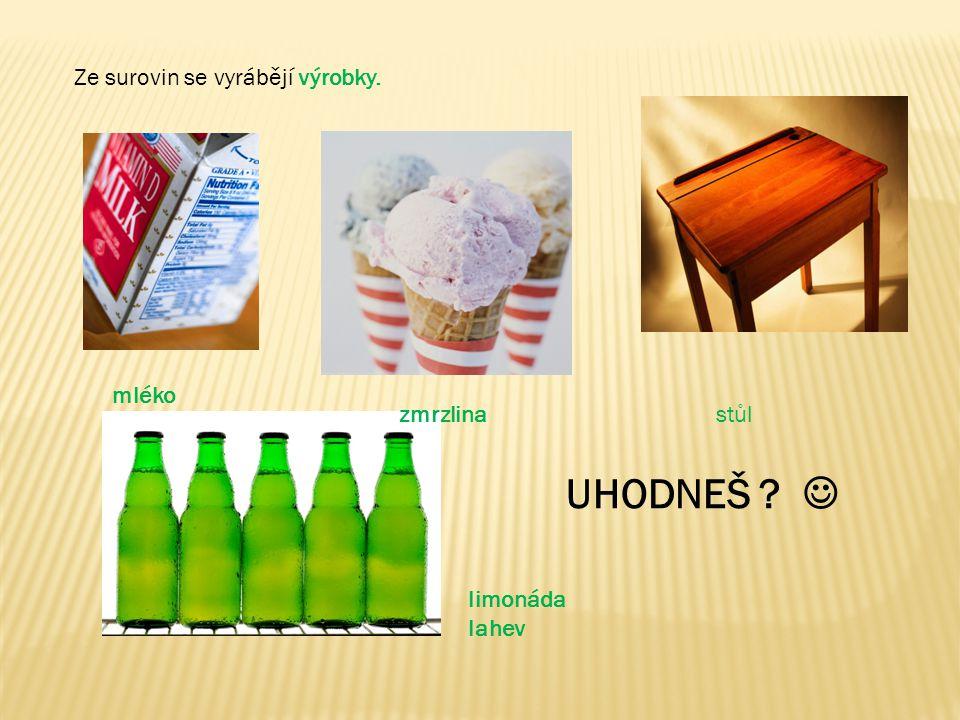 UHODNEŠ  Ze surovin se vyrábějí výrobky. mléko zmrzlina stůl