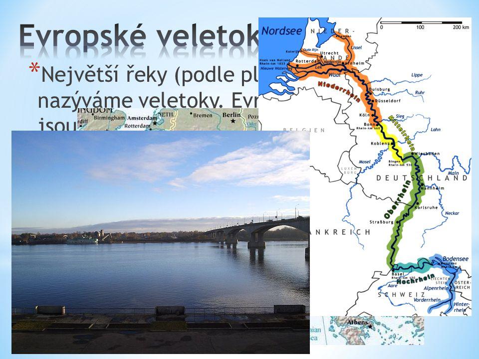 Evropské veletoky Největší řeky (podle plochy povodí) nazýváme veletoky.