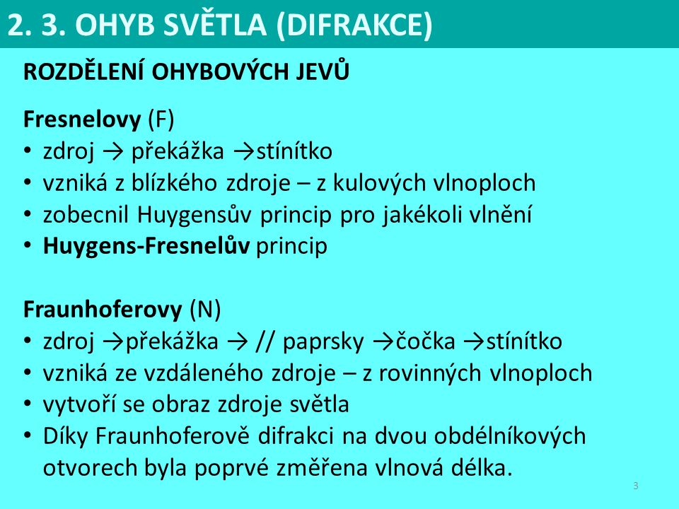 2. 3. OHYB SVĚTLA (DIFRAKCE)