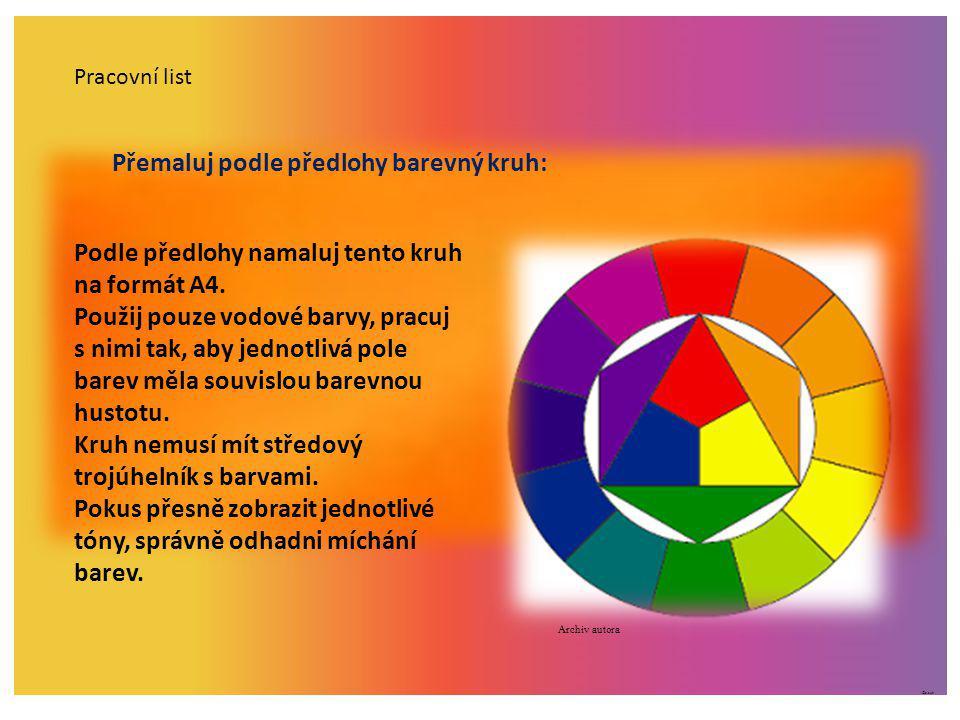 Přemaluj podle předlohy barevný kruh: