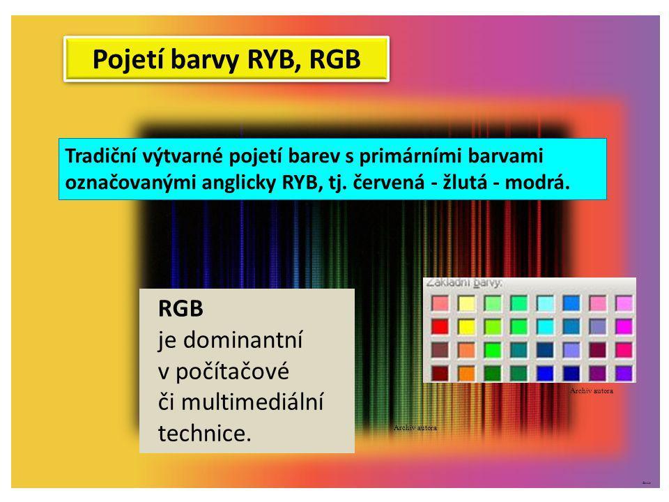 Pojetí barvy RYB, RGB RGB je dominantní v počítačové či multimediální