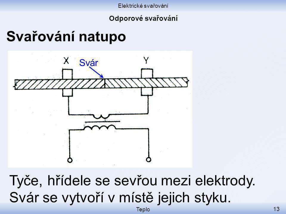 Elektrické svařování Odporové svařování. Svařování natupo. Svár. Tyče, hřídele se sevřou mezi elektrody. Svár se vytvoří v místě jejich styku.