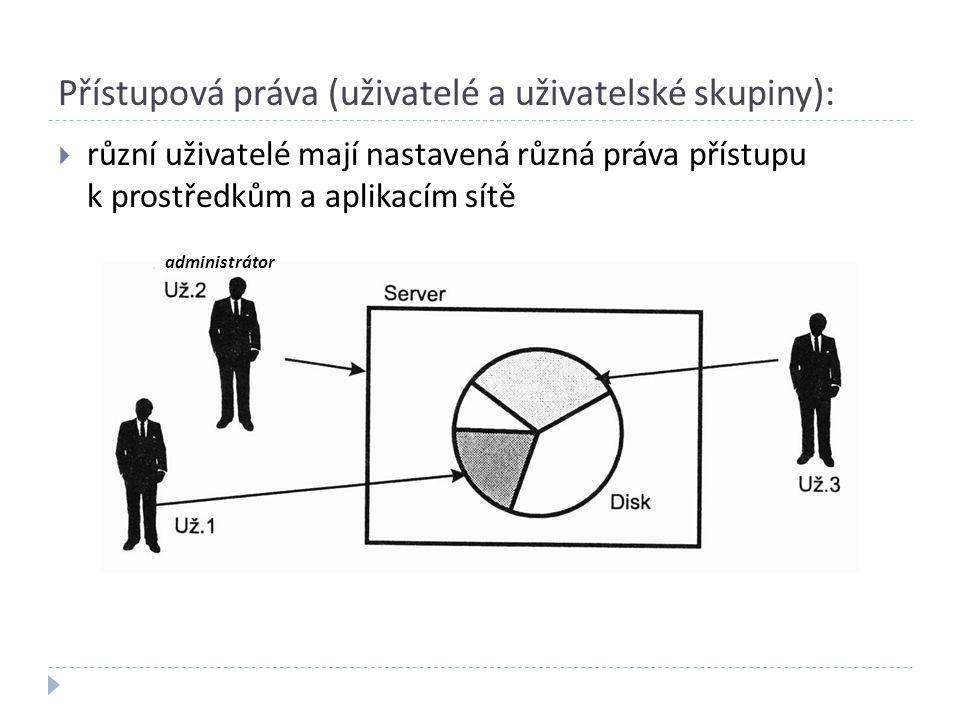 Přístupová práva (uživatelé a uživatelské skupiny):