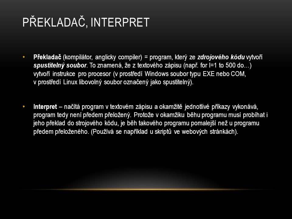 Překladač, interpret